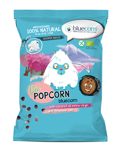 Organic Air Popped Popcorn from Blue Corn with virgin coconut oil and Himalayan salt